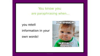 Paraphrasing Text Lesson