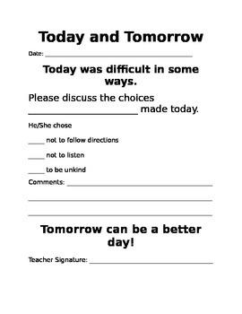 Parent Behavior Notificaion Sheet