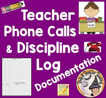 Parent Calls and Discipline Log for Teachers Telephone Pho