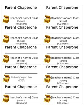 Parent Chaperone Field Trip Name Tag Label