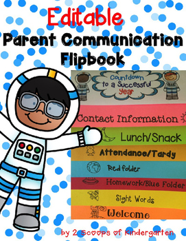 Parent Communication Flipbook (Editable) Space Theme