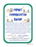 Parent Communication Log Binder