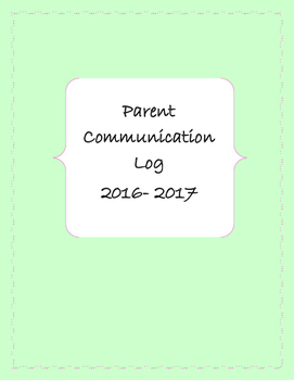 Parent Communication Log Cover 2016- 2017