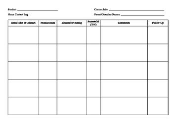Parent Communication Log template