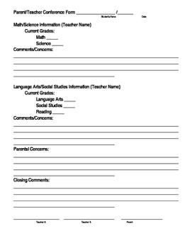 Parent Conference Form *EDITABLE*