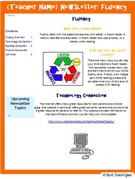 Parent Connections: Newsletter on Fluency