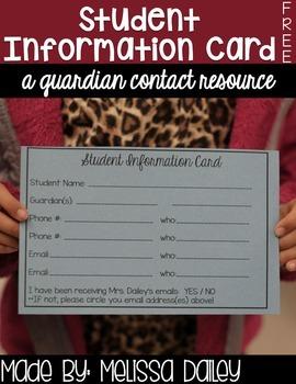 Parent Contact Card {FREEBIE}