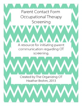 Parent Contact Form - Occupational Therapy Screening