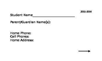 Parent Contact Information Card