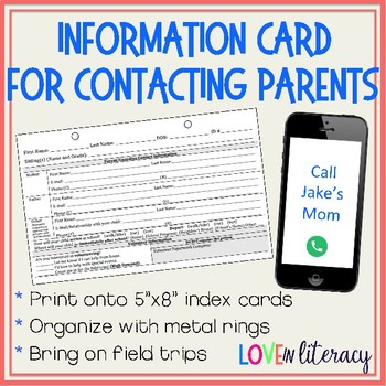 Information Card for Contacting Parents