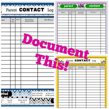 Parent Contact and Documentation Log, with Three Color Options