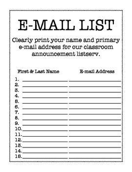 Parent E-mail List for Back to School (Bird Theme)