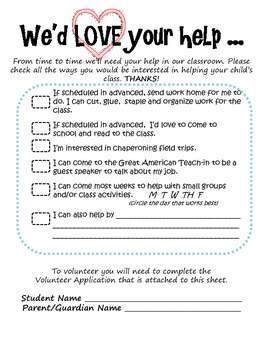 Parent / Family Classroom Volunteer Form