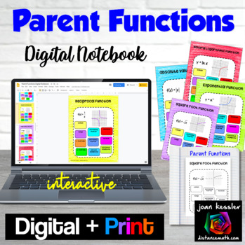 Parent Functions Digital Interactive Notebook with GOOGLE slides