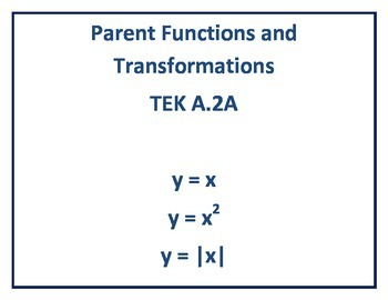 Parent Functions and Transformations (TEK A.2A)