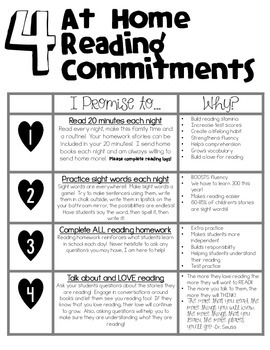 Parent Handout At Home Reading Commitments