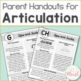 Parent Handouts for Articulation in Color and Black and White