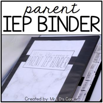 Parent IEP Binder - Editable ( Black and White ) IEP Companion