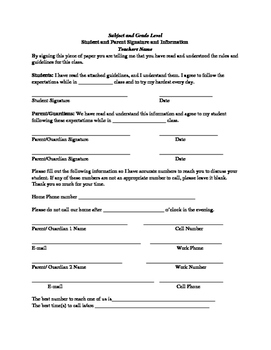 Parent Information and Agreement Form