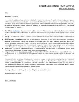 Parent Letter - Quarter 1