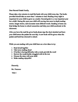Parent Letter Take home book Second Grade