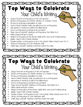 Parent Letter on Ways to Celebrate Student Writing Pieces