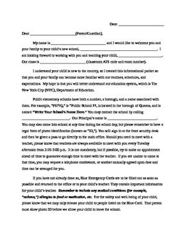 Parent Letter to Explain NYC DOE Public School Routines an