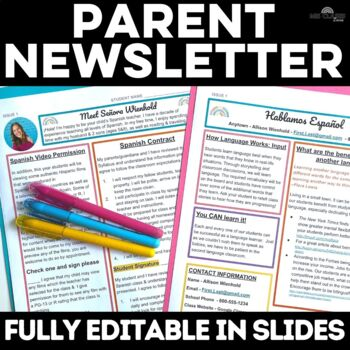Back to School: Parent Newsletter for Spanish Class