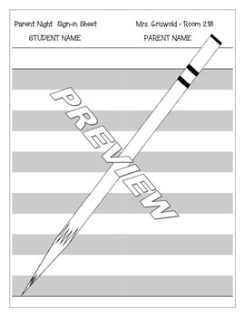 Parent Night Open House Sign In Sheet