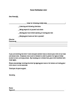 Parent Notification of Student Behavior Letter