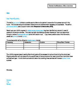 Parent Notification of Title 1 Services