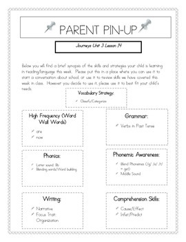 Parent Pin-Ups for Journeys Lessons Unit 3 Bundle