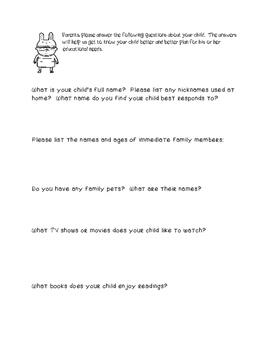 Parent Questionnaire/Survey-Special Education