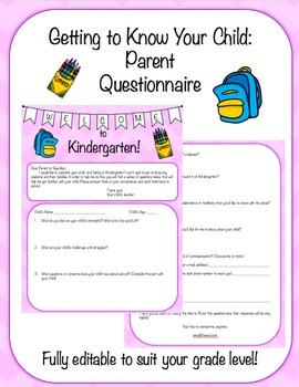 Fully Editable Student Information Parent Questionnaire Survey