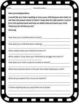 Parent Questionnaire- First Week of School