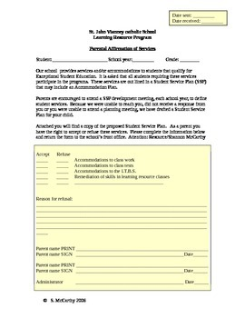 Parent Refusal Form for Services & Accommodations