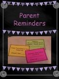 Parent Reminder Notes Cut and Go!