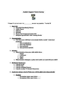 Parent Survey for Child with Autism
