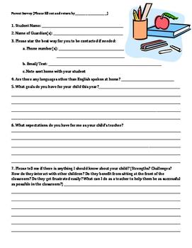 Parent Survey in English & Spanish