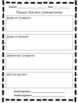 Parent-Teacher Communication Form
