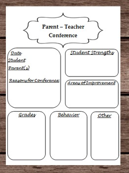 Parent Teacher Conference Planner - About Student Informat