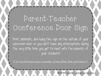 Parent Teacher Conference Door Signs