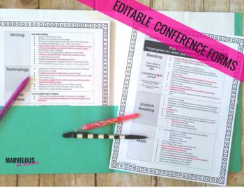 Parent Teacher Conference Editable Forms[Google Drive Version]