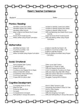 Parent / Teacher Conference Form