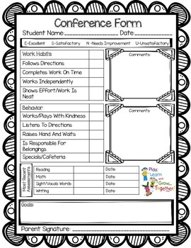 Parent/Teacher Conference Form-Keep all your talking point