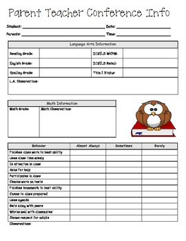 Parent Teacher Conference Form for Academics and Behavior