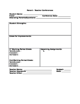 Parent Teacher Conference Graphic Organizer