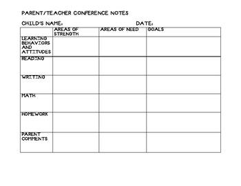 Parent Teacher Conference Grid