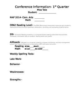 Parent-Teacher Conference Information Sheet