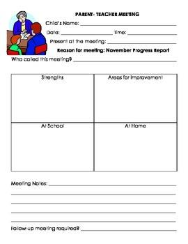 Parent Teacher Conference/ Meeting Template
